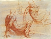 Red Chalk Figure Twisting, red chalk on paper, 2010, 11x22