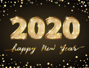 Golden Vector Luxury Text 2020 Happy New Year. Gold Festive Numb